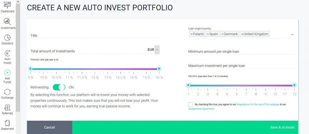 FastIvenst - Nastavenie autoinvestu