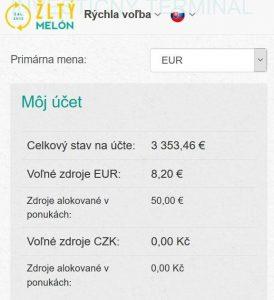 Žltý melón, účet