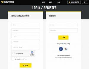 Obrazovka s údajmi pre registráciu alebo prihlásenie do Crowdestoru